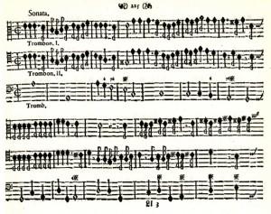 Daniel Speer - Sonate Nr. 1 für drei Posaunen 1697 (Faksimile Seite 1)